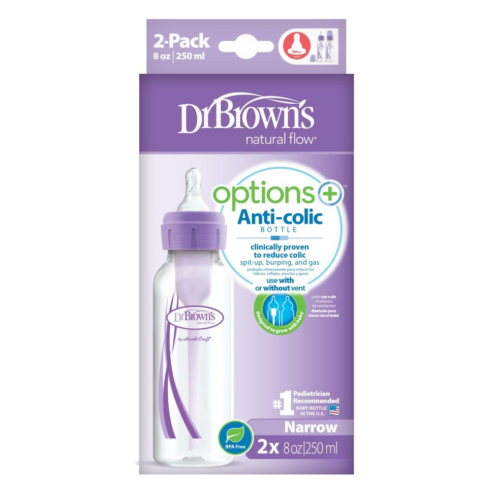 Duo pak standaard smalle hals flessen 250 ml. Dr. Brown's paars