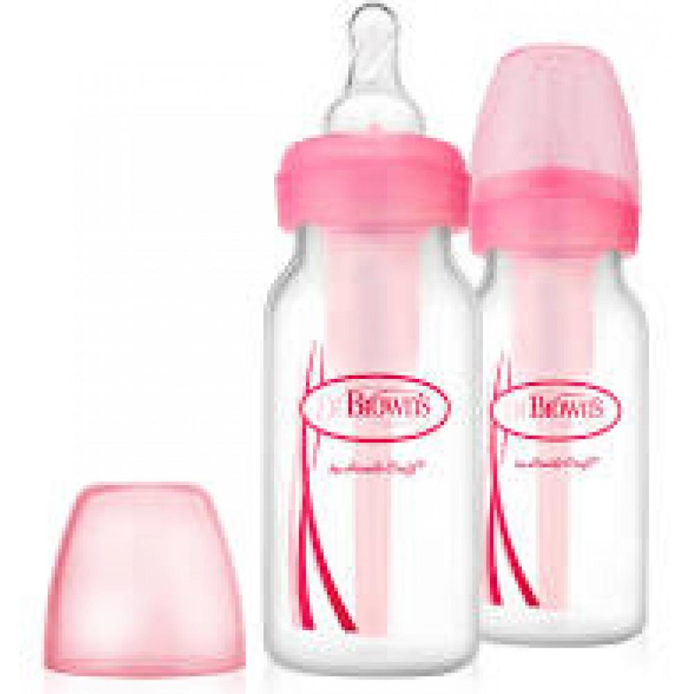 Duo pak standaard smalle hals flessen 120 ml. Dr. Brown's roze