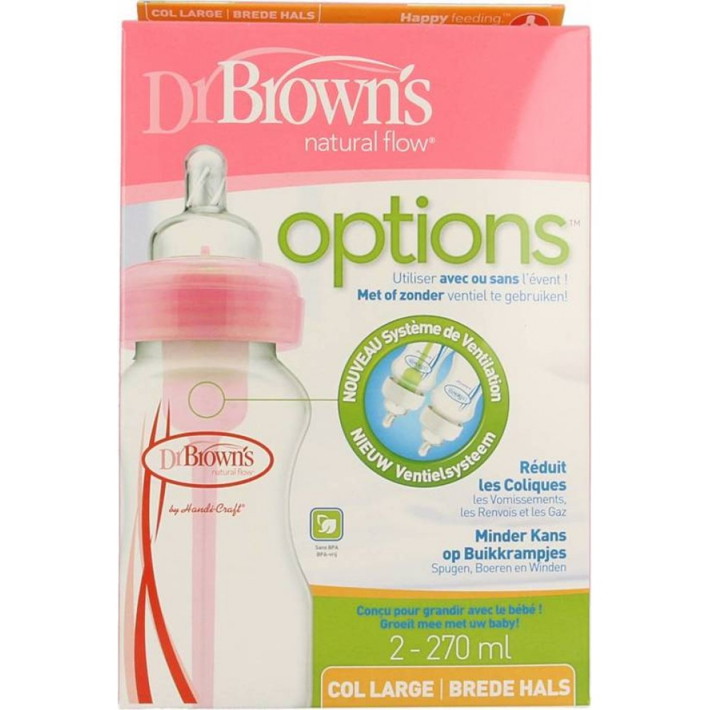 Duo pak brede hals flessen 270 ml. Dr. Brown's roze