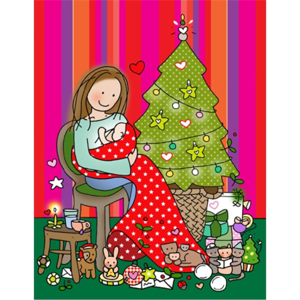 Kaart Kerst borstvoeding    Borstvoeding Goedkope Goedkoop Kaarten