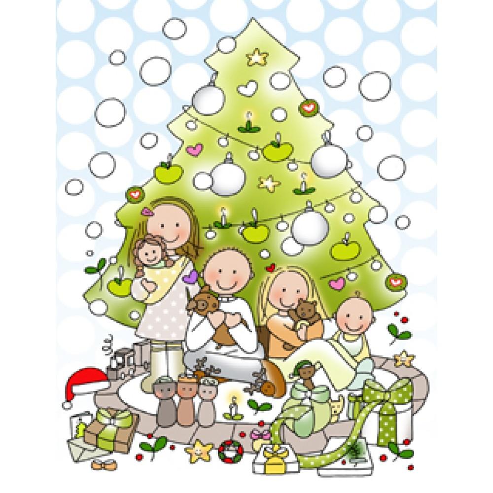 Kaart Kerst gezin ECO    Borstvoeding Goedkope Goedkoop Kaarten