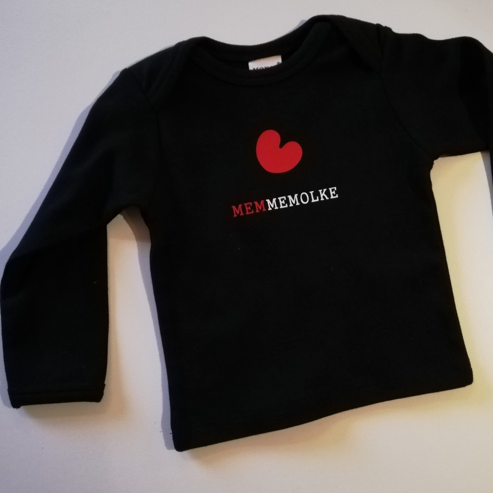 Longsleeve met opdruk : Memmemolke l maat 6-12 maanden Borstvoeding Goedkope Goedkoop Kinderkleding