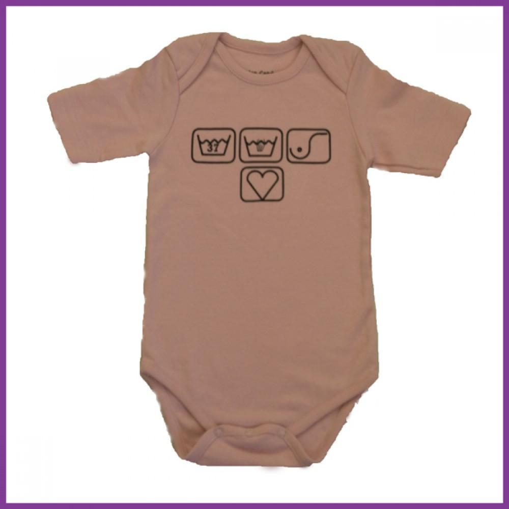 Romper met opdruk: borstvoedingssymbolen roze korte mouw maat: 74/80  Borstvoeding Goedkope Goedkoop Kinderkleding