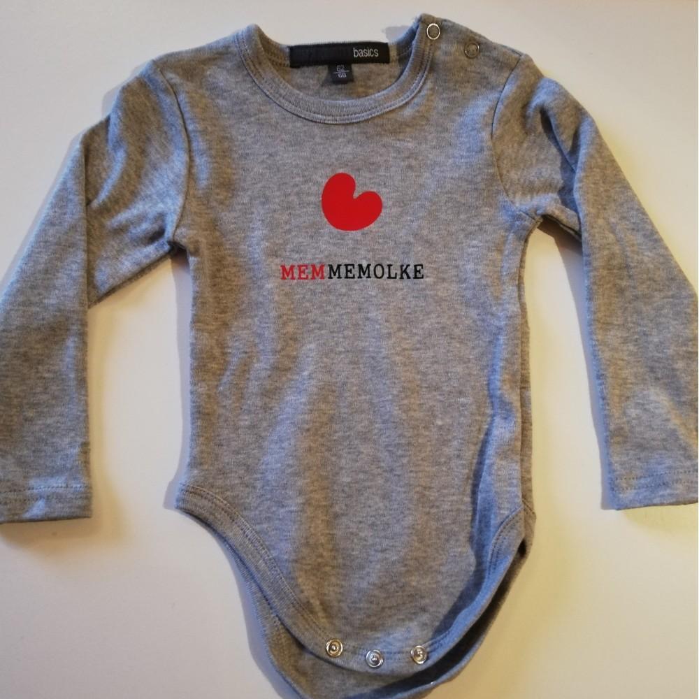 romper met opdruk: 'memmemolke' l maat 74-80 Borstvoeding Goedkope Goedkoop Kinderkleding