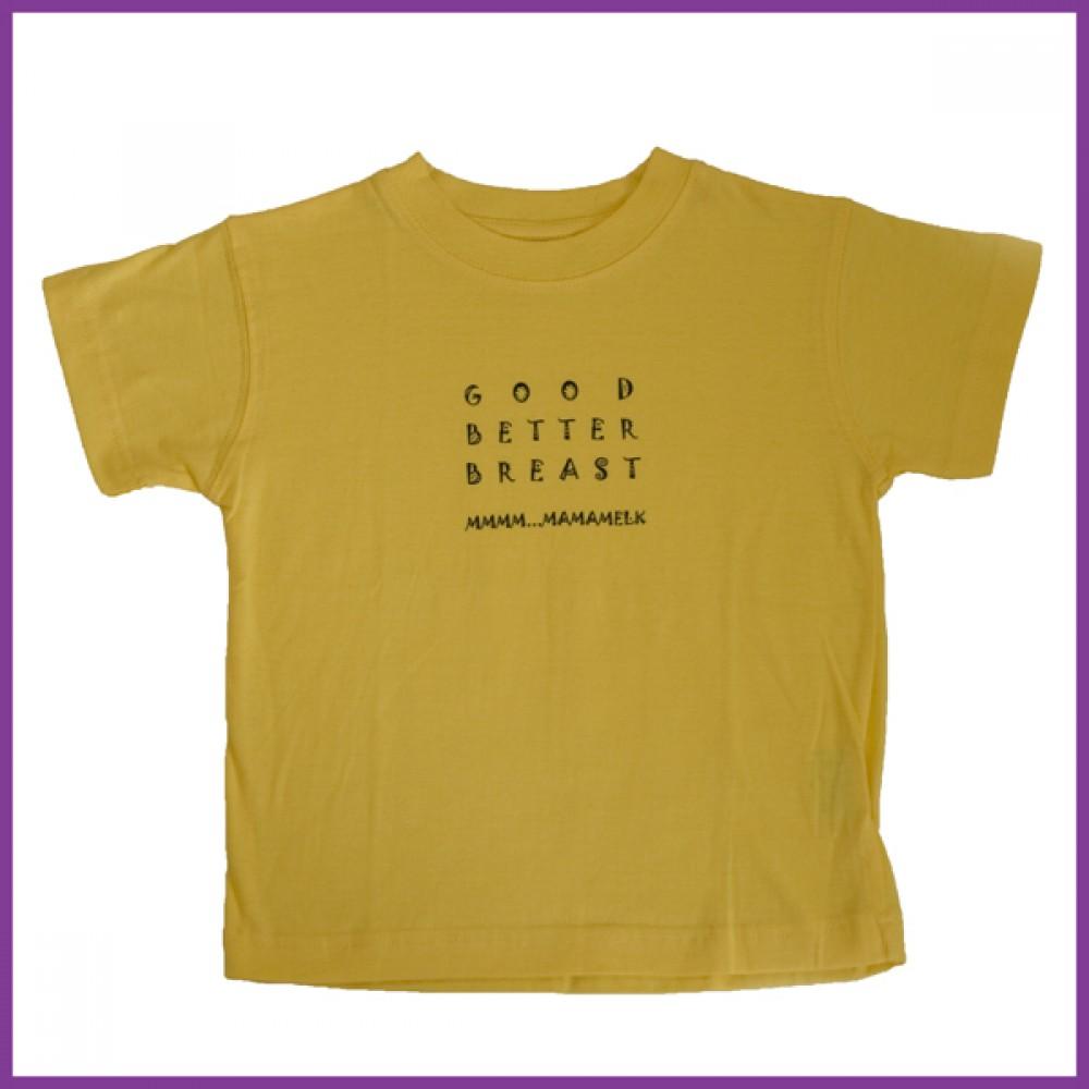 t-shirt met opdurk 'Good Better Breast'  geel, maat:  92 Borstvoeding Goedkope Goedkoop Kinderkleding