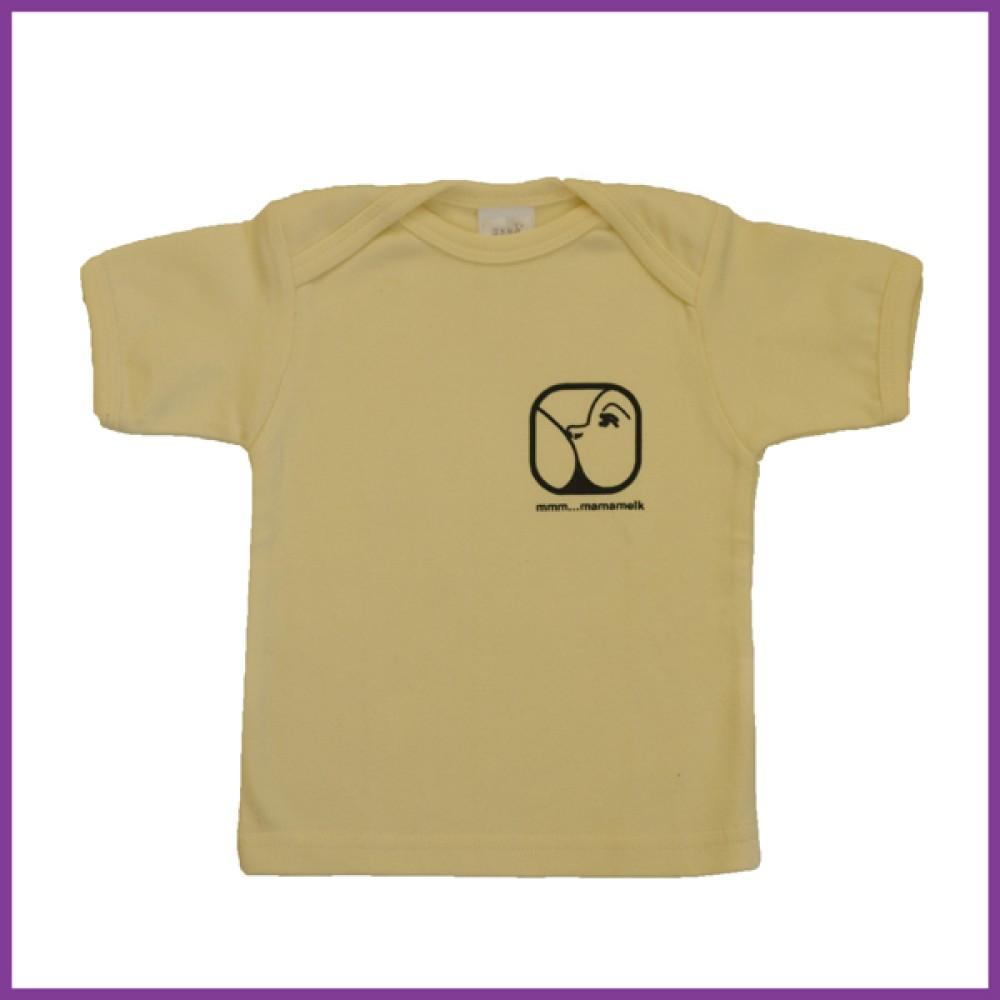 t-shirt met opdruk nursing logo, lichtgeel, maat: 68 6 - 12 mnd Borstvoeding Goedkope Goedkoop Kinderkleding