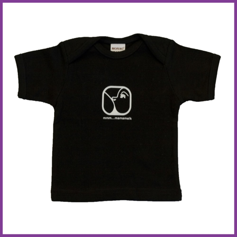 t-shirt met opdruk nursing logo, zwart, maat: 68  6 - 12 mnd Borstvoeding Goedkope Goedkoop Kinderkleding