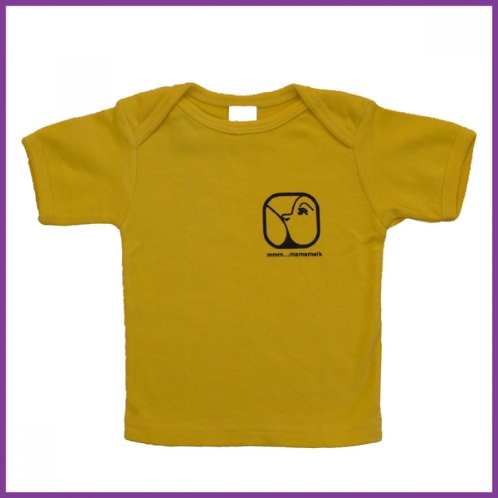 t-shirt met opdruk nursing logo, donkergeel , maat: 68  6 - 12 mnd Borstvoeding Goedkope Goedkoop Kinderkleding