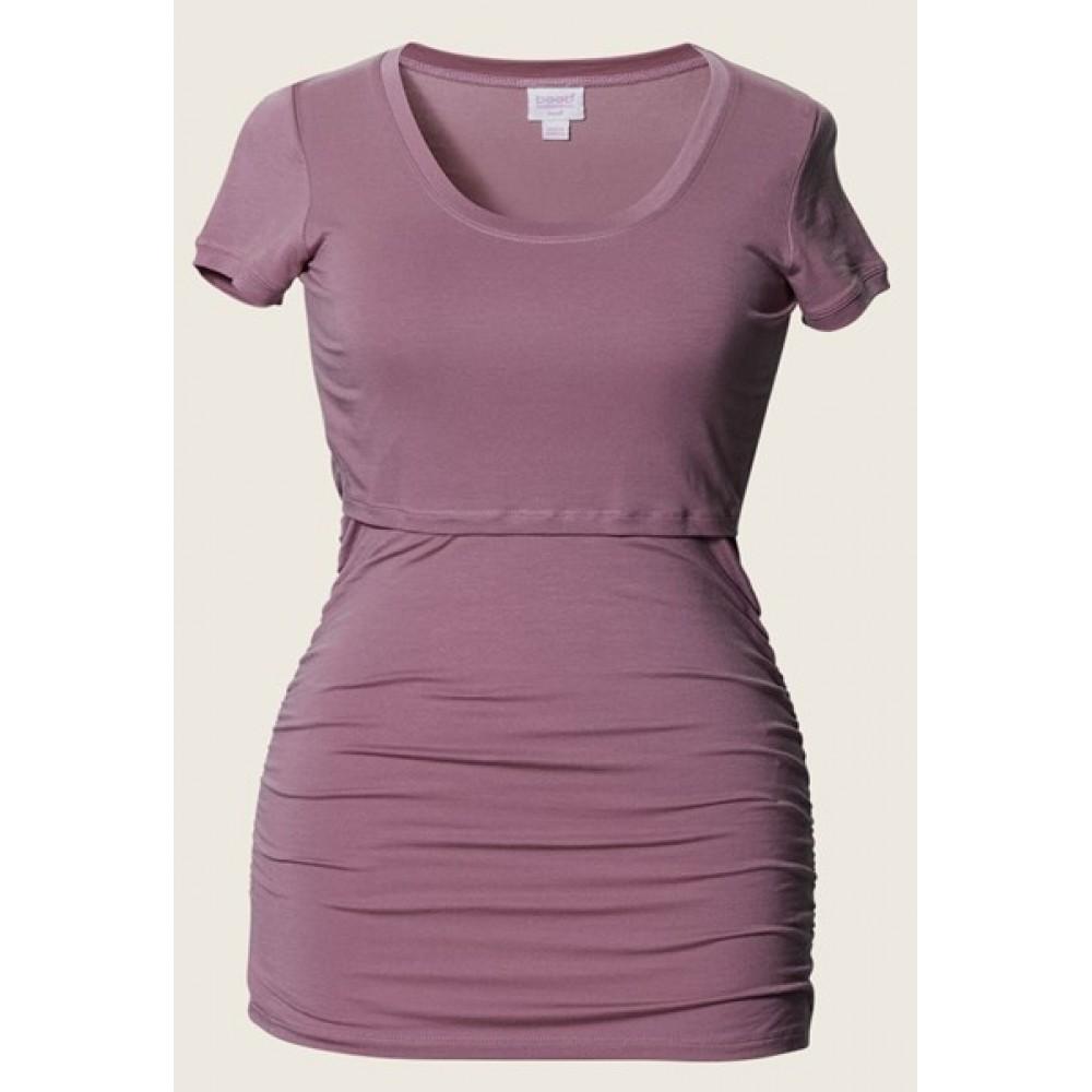 Nursing Top Short Sleeve Ruched T-shirt korte mouw Rainy Rose Borstvoeding Goedkope Goedkoop Voedingskleding
