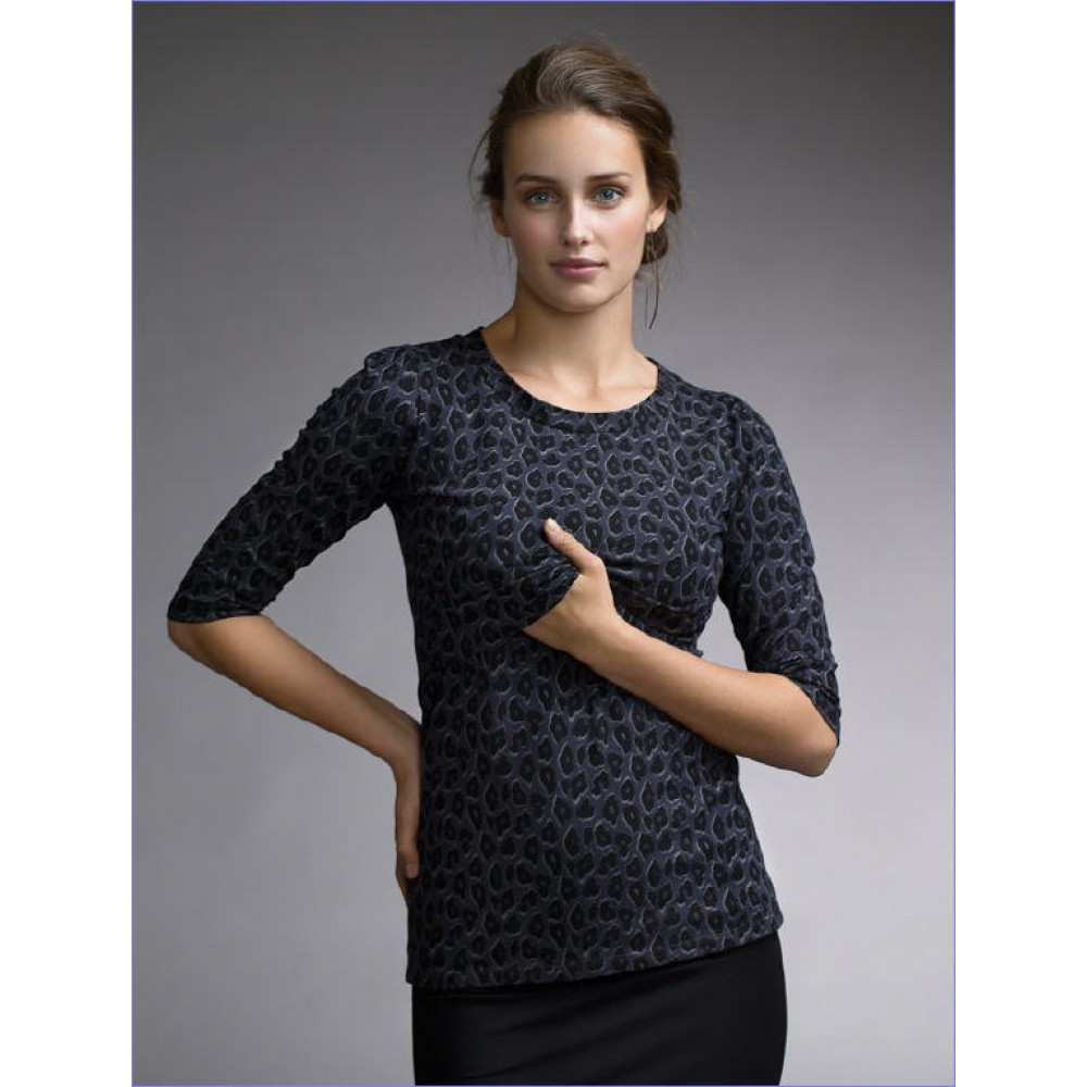 Nursing top Leo Leopard print Blue/ grey shirt 3/4 mouw Borstvoeding Goedkope Goedkoop Voedingskleding
