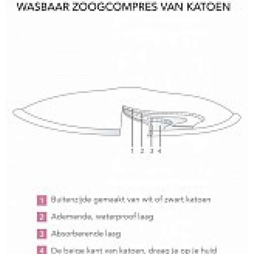 Zoogcompressen katoen wasbaar 6 stuks in wasnetje Zwart Borstvoeding Goedkope Goedkoop Wasbare zoogcompressen