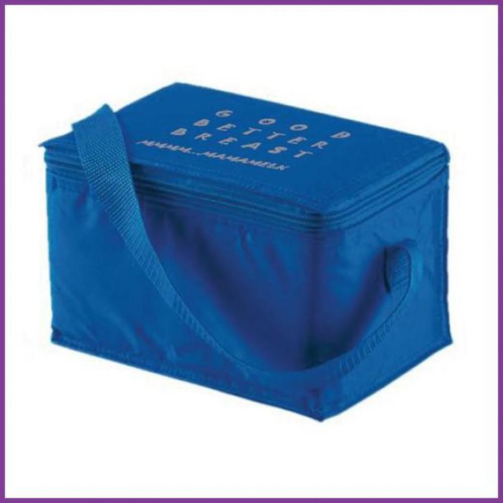 Koeltas blauw met opdruk 'Good Better Breast'  kolf/ koeltas