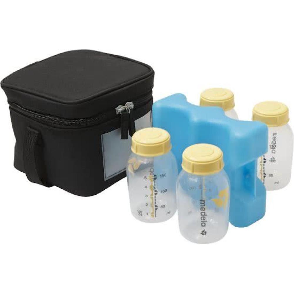 Koeltas Medela inclusief koelelementen en 4 flesjes