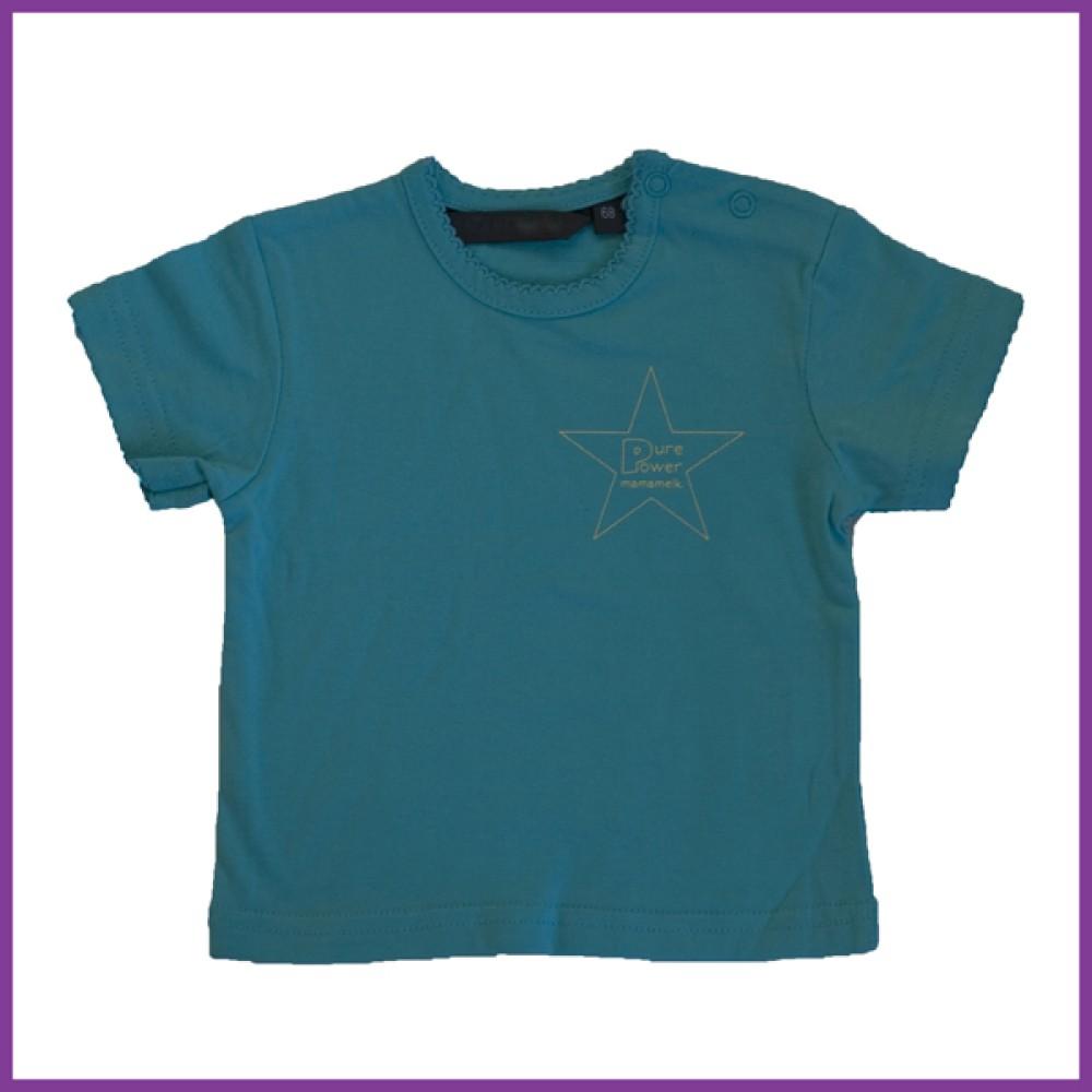 t-shirt met opdruk: 'pure power mamamelk', blauw Borstvoeding Goedkope Goedkoop Kinderkleding