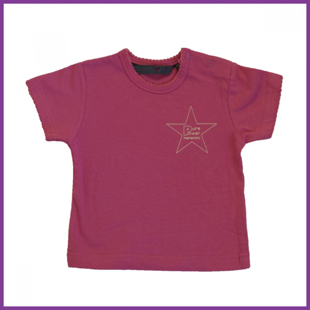 t-shirt met opdruk: 'pure power mamamelk', roze Borstvoeding Goedkope Goedkoop Kinderkleding