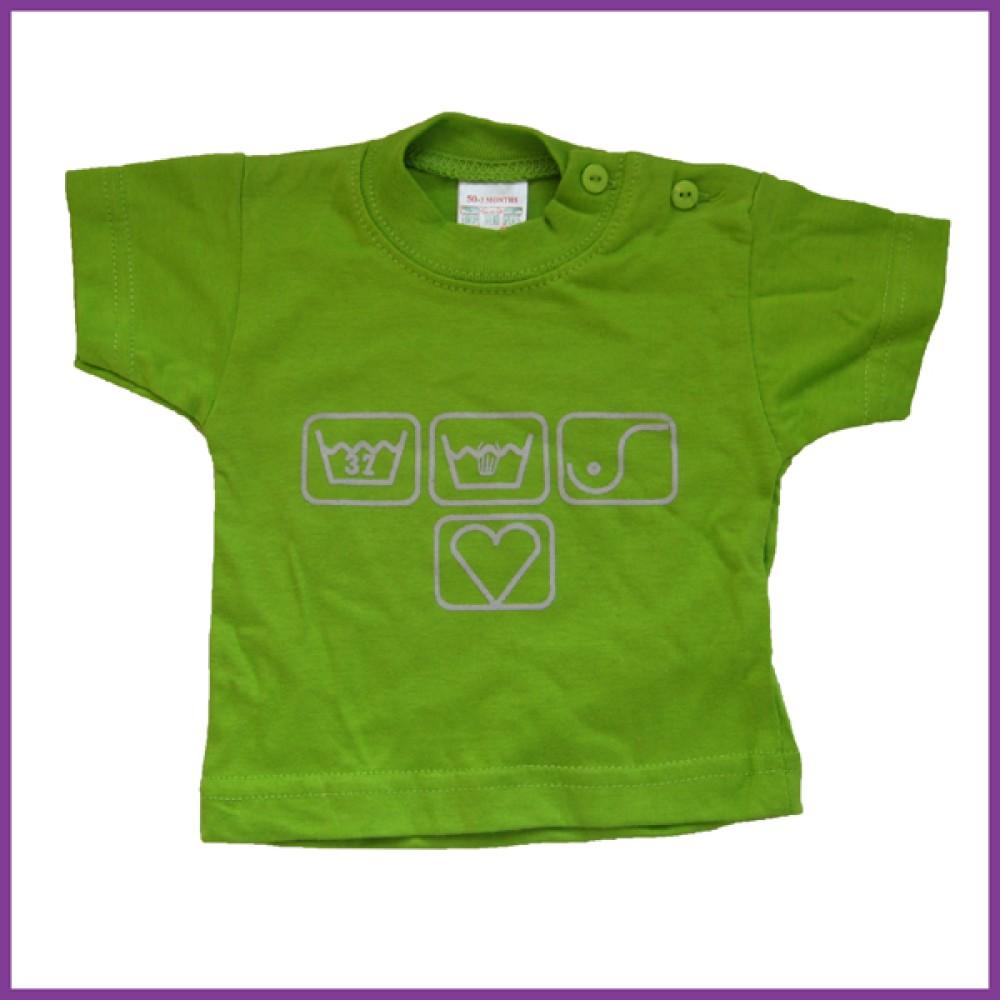 T-shirt met opdruk borstvoedings symbolen, groen Borstvoeding Goedkope Goedkoop Kinderkleding
